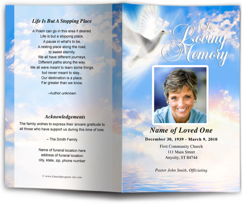 Peace Funeral Program Template