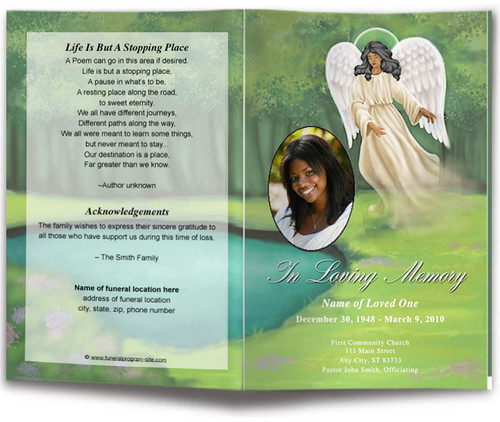 Spirit Funeral Program Template dark skin