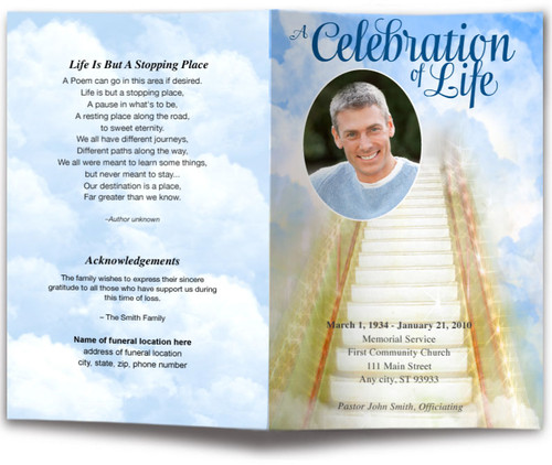 Stairway Funeral Program Template