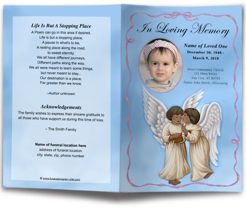 Wings Funeral Program Template dark skin