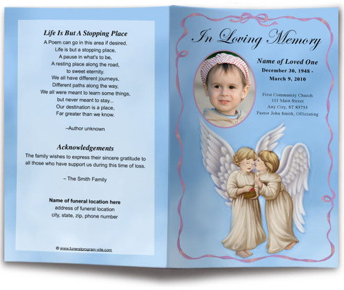 Wings Funeral Program Template light skin