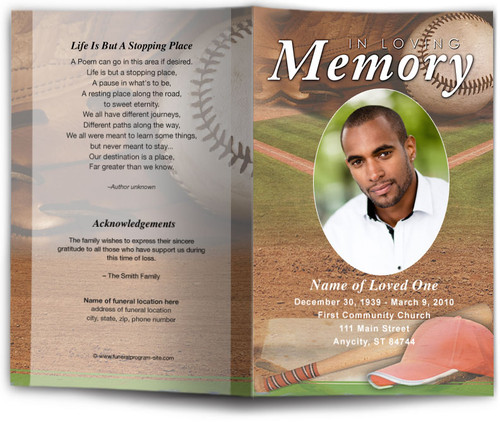 Baseball Funeral Program Template