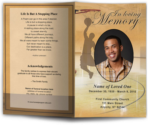 Basketball Funeral Program Template