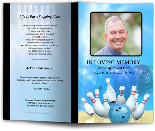 blue Bowling Funeral Program Template