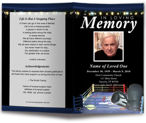 Boxing Funeral Program Template