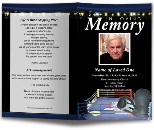 Boxing Funeral Program Template