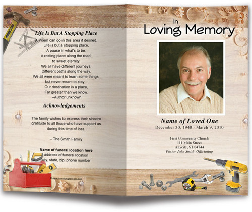 Carpenter Funeral Program Template