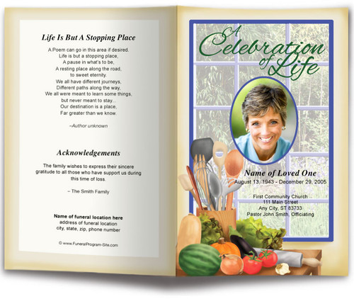 Chef Funeral Program Template