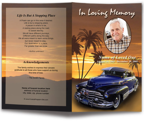 Classic Car Funeral Program Template