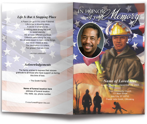 Fireman Funeral Program Template dark skin