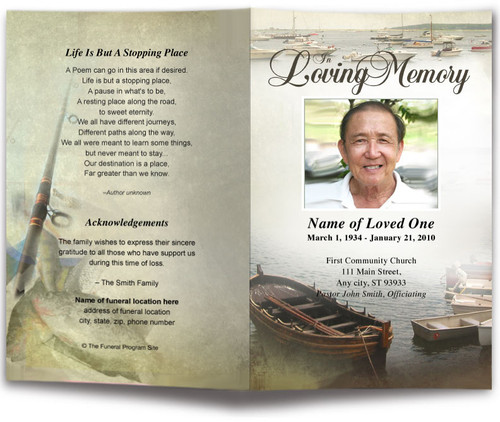 Fishing Funeral Program Template