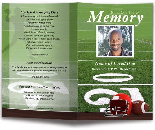 Football Funeral Program Template