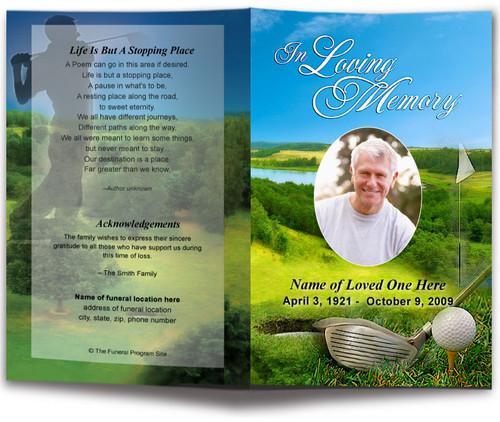 Golfer Funeral Program Template