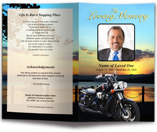 Motorcycle Funeral Program Template
