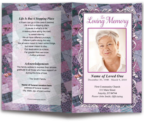 Patchwork Funeral Program Template