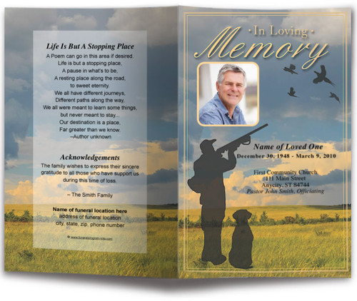 Pheasant Funeral Program Template