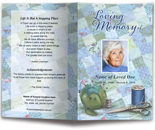 Quilt Funeral Program Template blue