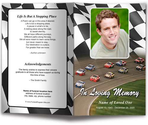 Racing Funeral Program Template