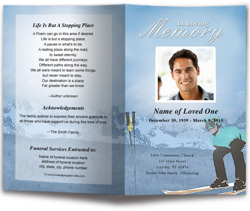 Skiing Funeral Program Template