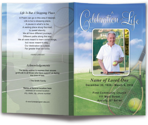 Tennis Funeral Program Template