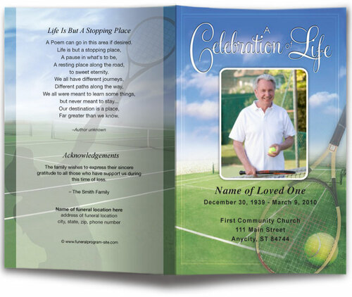 Tennis Funeral Program Template