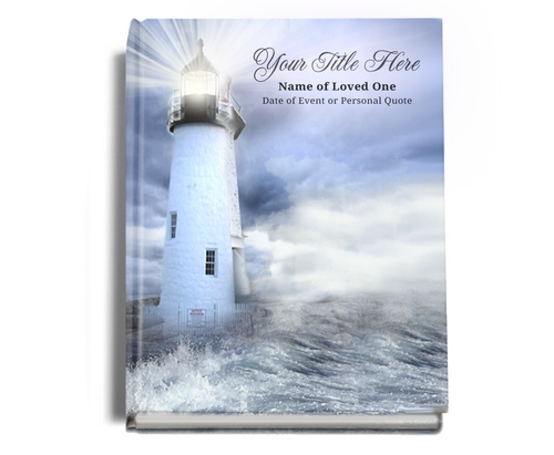 Lighthouse Perfect Bind Funeral Guest Book 8x10