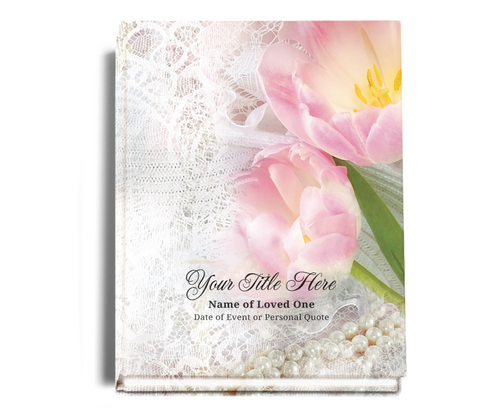 Pearls Perfect Bind Funeral Guest Book 8x10