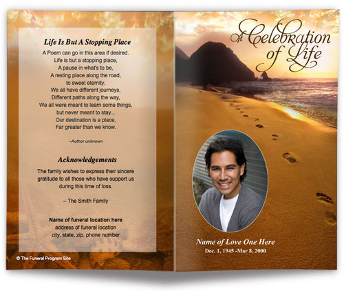 Footprints Funeral Program Template