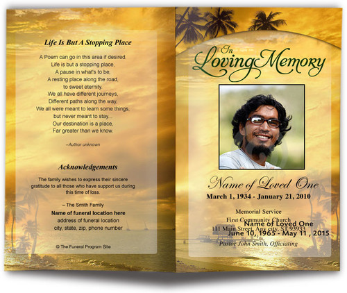 Island Funeral Program Template