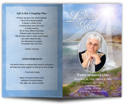 Seascape Funeral Program Template