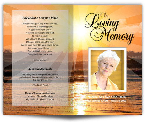 Sunset Funeral Program Template