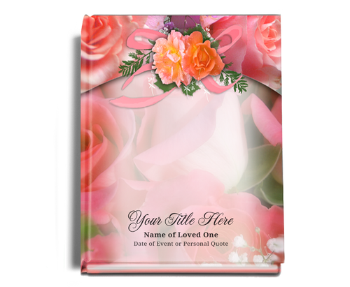 Rosy Perfect Bind Memorial Funeral Guest Book 8x10