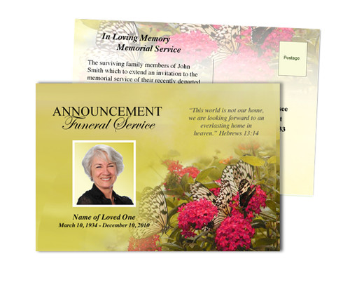 Bouquet Funeral Announcement Postcard Template