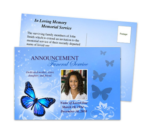 Butterfly Funeral Announcement Postcard Template