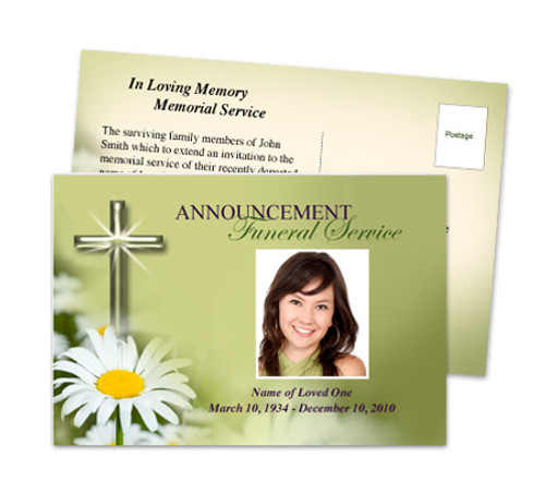 Daisy Funeral Announcement Template