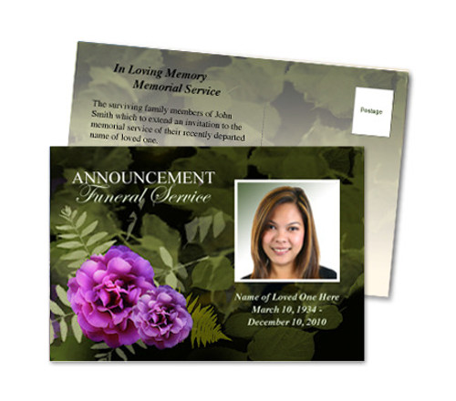 Essence Funeral Announcement Template
