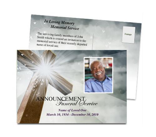 Eternal Funeral Announcement Postcard Template