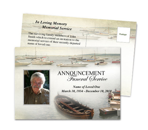 Fishing Funeral Announcement Postcard Template
