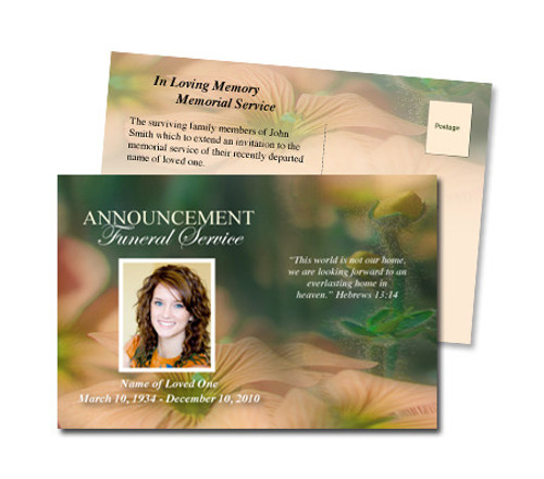 Floral Funeral Announcement Postcard Template