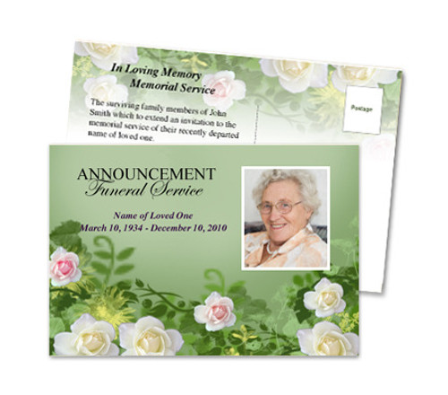 Garden Funeral Announcement Postcard Template