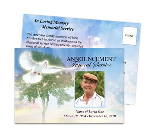 Gardener Funeral Announcement Postcard Template