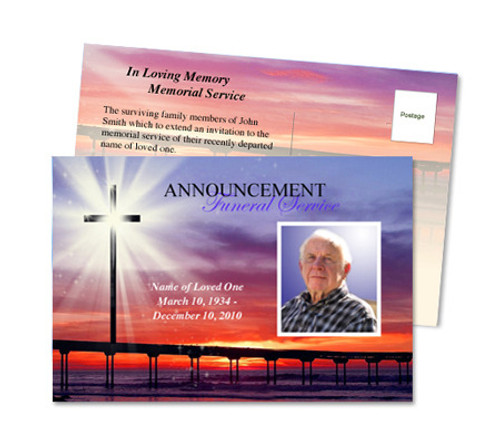 Glorify Funeral Announcement Postcard Template