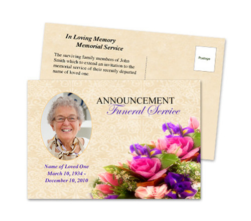 Golden Funeral Announcement Postcard Template
