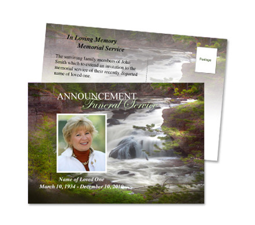 Graceful Funeral Announcement Postcard Template