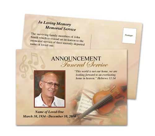 Harmony Funeral Announcement Postcard Template