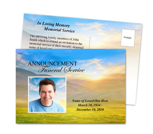 Horizon Funeral Announcement Template
