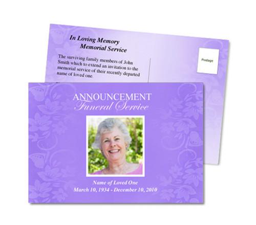 Lavender Funeral Announcement Template