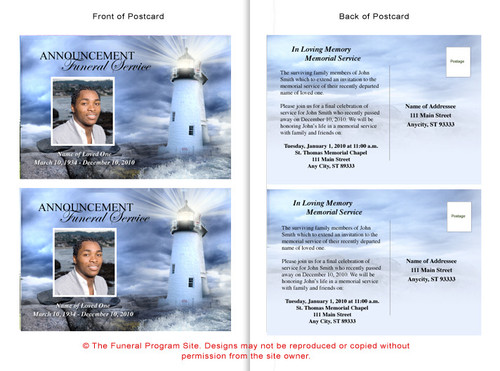Lighthouse Funeral Announcement Template inside view