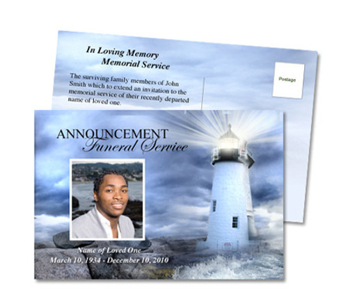 Lighthouse Funeral Announcement Template
