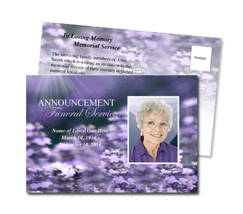 Lilac Funeral Announcement Template